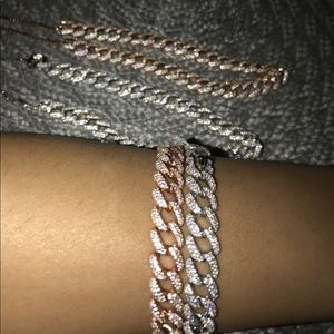Women's sterling silver iced out Cuban choker sets
